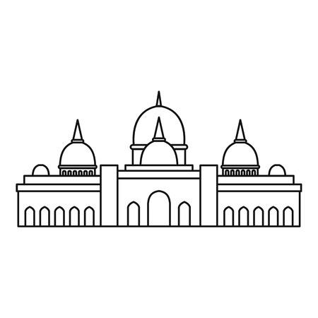united arab emirate: Sheikh Zayed mosque, Abu Dhabi icon. Outline illustration of Sheikh Zayed mosque, Abu Dhabi vector icon for web Illustration