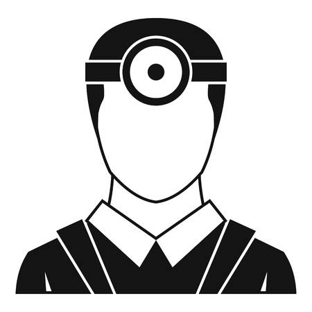 ophthalmologist: Ophthalmologist with head mirror icon. Simple illustration of ophthalmologist with head mirror vector icon for web