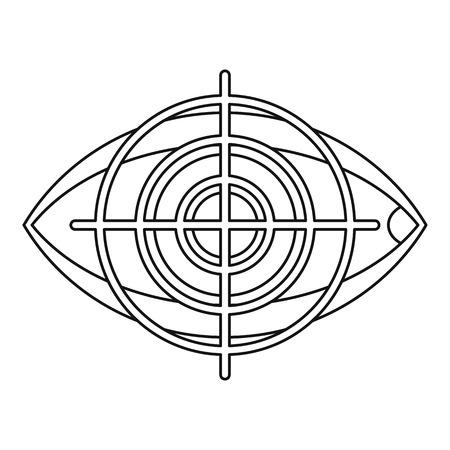 human eye: Human eye and target icon. Outline illustration of human eye and target vector icon for web Illustration