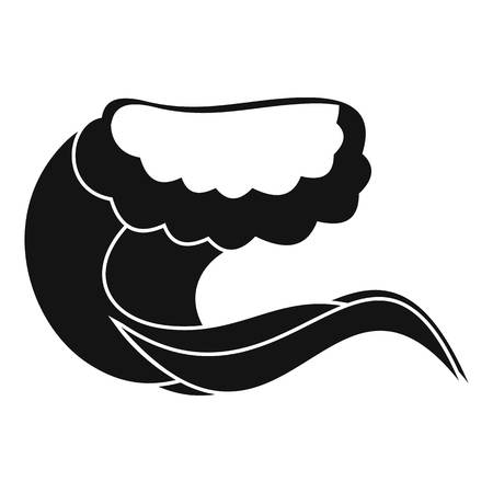 Curling and cracking wave icon. Simple illustration of curling and cracking wave vector icon for web