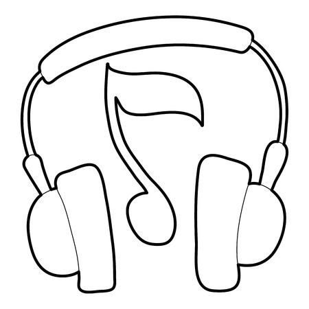 Earphones icon. Outline illustration of earphones vector icon for web
