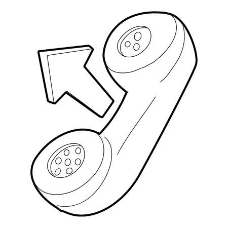 handset: Handset icon. Outline illustration of handset vector icon for web