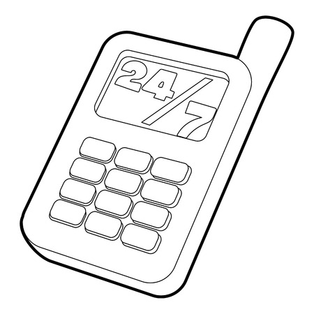 Mobile phone icon. Outline illustration of mobile phone vector icon for web