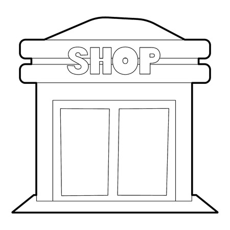 frontdoor: Shop icon. Outline illustration of shop vector icon for web Illustration