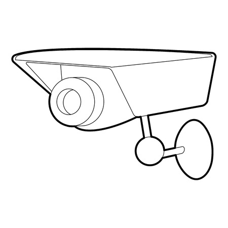 monitored: Security camera icon. Outline illustration of security camera vector icon for web