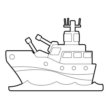 battleship: Battleship icon. Outline illustration of battleship vector icon for web Illustration
