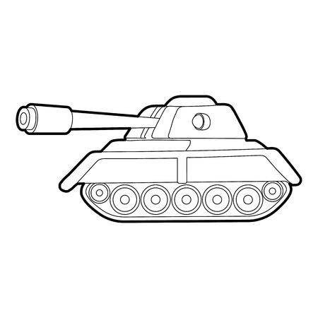 Libro Para Colorear Tanque. Ejército De Los Equipos En Estilo Lineal ...