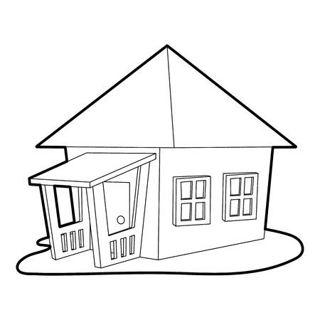 veranda: Bungalow icon. Outline illustration of bungalow vector icon for web