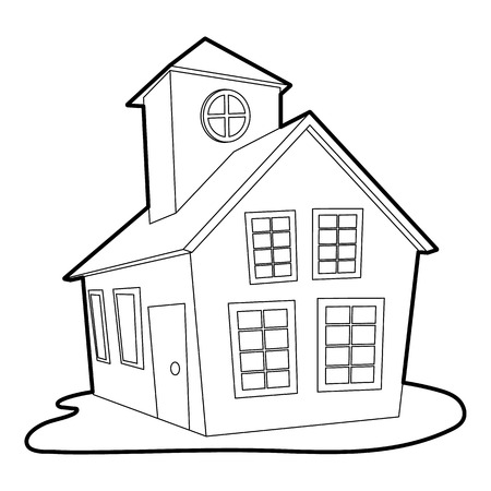 Colored house icon. Outline illustration of colored house vector icon for web