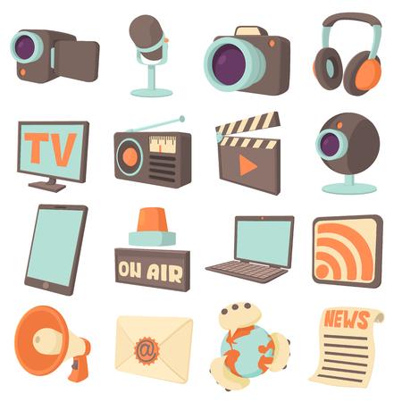 通信: メディア通信のアイコンを設定します。16 メディア通信ベクトルのアイコン web 漫画イラスト