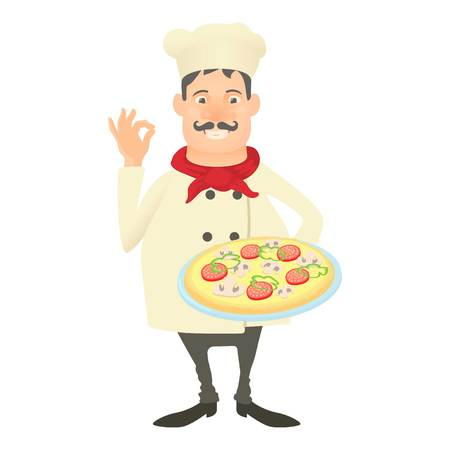 Italy chef icon. Cartoon illustration of italy chef vector icon for web Illustration