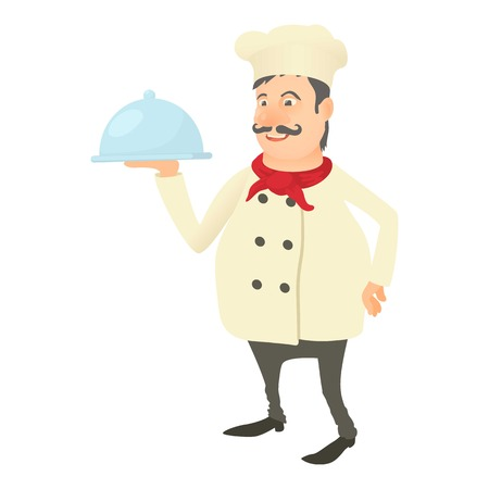 Chef with dish icon. Cartoon illustration of chef with dish vector icon for web