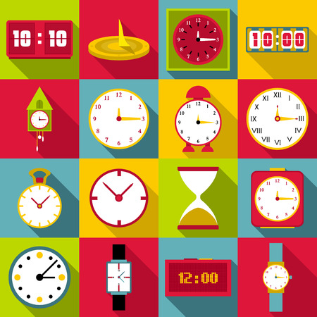 afternoon: Clocks icons set. Flat illustration of 16 clocks vector icons for web Illustration