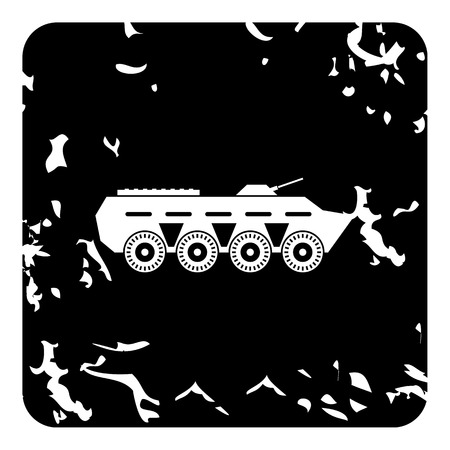 armored: Armored fighting vehicle icon. Grunge illustration of armored fighting vehicle vector icon for web