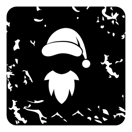 pompom: Hat with pompom and beard of Santa Claus icon. Grunge illustration of hat with pompom and beard of Santa Claus vector icon for web
