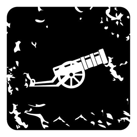 lanzamiento de bala: Medieval del icono del arma de lanzamiento militar. Grunge ilustración de la pistola que lanza medieval del icono del vector militar para la web