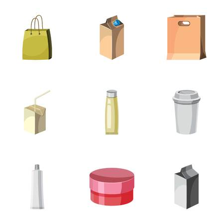 Packaging icons set. Cartoon illustration of 9 packaging vector icons for web Illustration