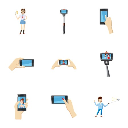 call centre girl: Photo on mobile phone icons set. Cartoon illustration of 9 photo on mobile phone vector icons for web