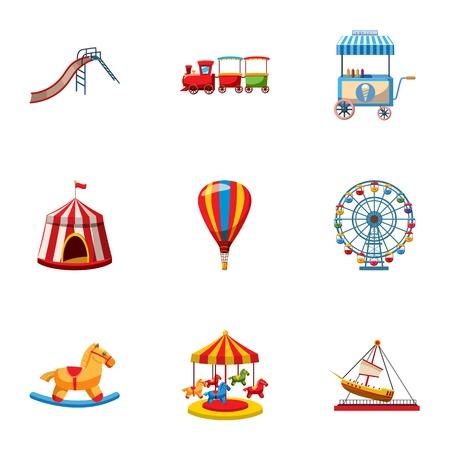 playground rides: Children rides icons set. Cartoon illustration of 9 children rides vector icons for web