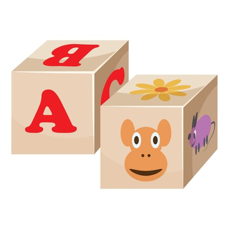 Baby cubes icon. Cartoon illustration of baby cubes vector icons for web Illustration