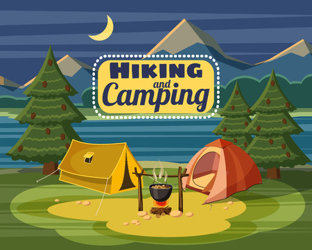 Camping concept. Cartoon illustration of camping vector concept for web