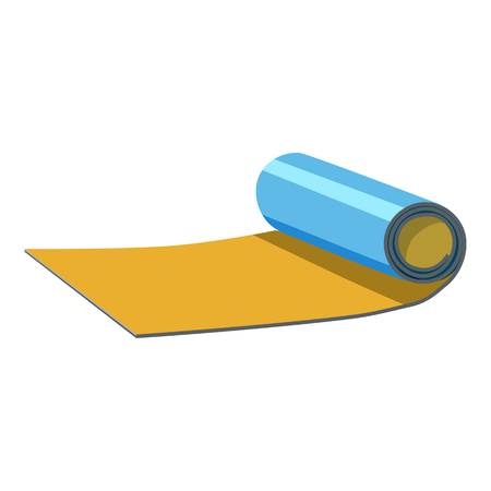 rolled: Rolled up mat icon. Cartoon illustration of rolled up map vector icon for web