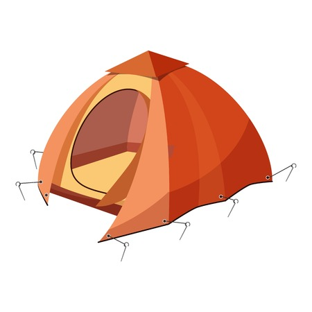 Hiking tent icon. Cartoon illustration of hiking tent vector icon for web