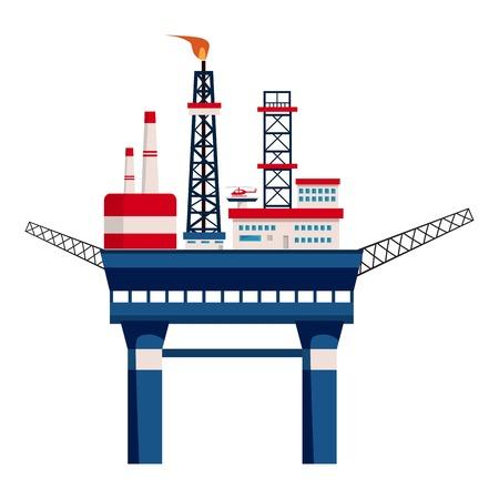 oil platform: Oil platform at sea icon. Cartoon illustration of oil platform at sea vector icon for web