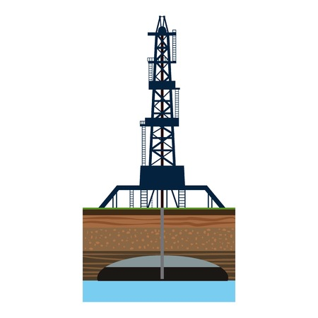 Drilling of oil well in sea icon. Cartoon illustration of drilling of oil well in sea vector icon for web