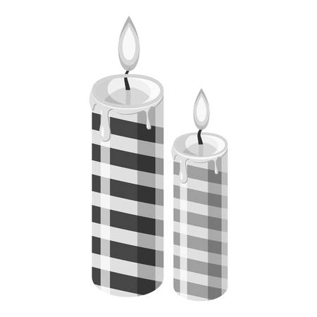 alight: Festive candle icon. Gray monochrome illustration of festive candle vector icon for web