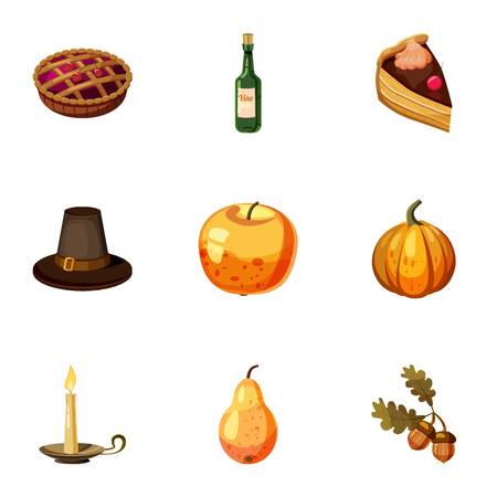 pumpkin pie: Thanksgiving feast icons set. Cartoon illustration of 9 thanksgiving feast vector icons for web