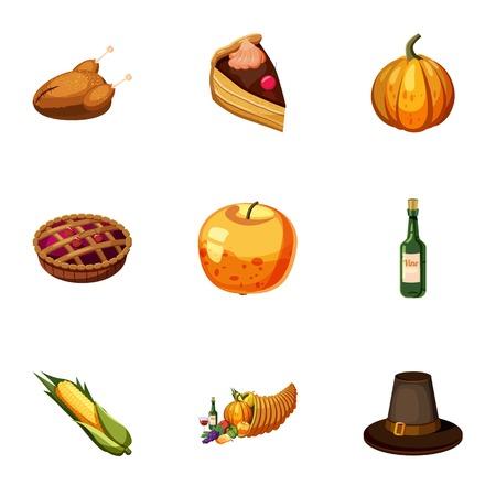 pictogrammen dankbaarheid viering in te stellen. Cartoon illustratie van 9 dankbaarheid vector viering pictogrammen voor web