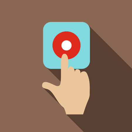 audible: Alarm button icon. Flat illustration of alarm button vector icon for web