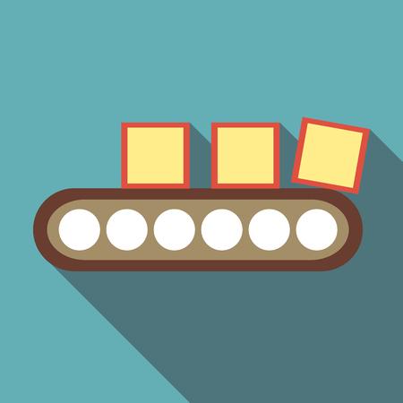 belt up: Belt conveyor with load icon. Flat illustration of belt conveyor with load vector icon for web Illustration