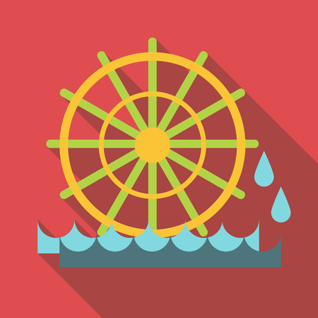 waterwheel: Water mill icon. Flat illustration of water mill vector icon for web