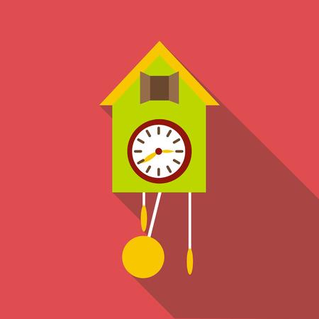 Cuckoo clock icon. Flat illustration of cuckoo clock vector icon for web Illustration
