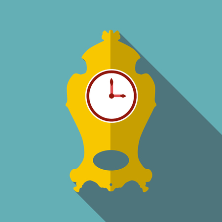 Wall clock icon. Flat illustration of wall clock vector icon for web Illustration