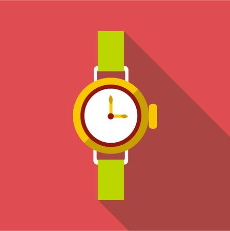 Round wrist watch icon. Flat illustration of round wrist watch vector icon for web