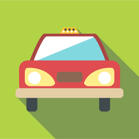 sedan: Taxi car icon. Flat illustration of taxi car vector icon for web
