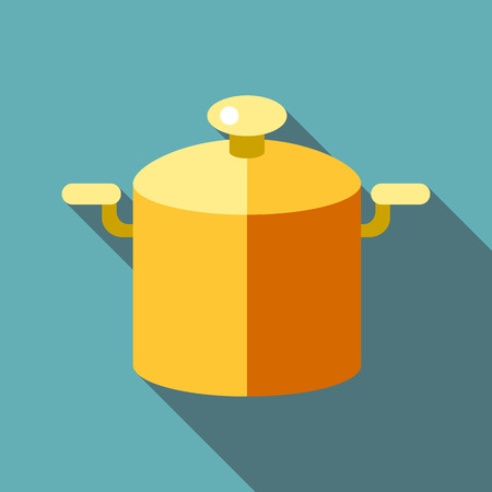 Pot with lid icon. Flat illustration of pot with lid vector icon for web