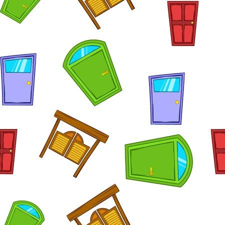 opening door: Opening door pattern. Cartoon illustration of opening door vector pattern for web