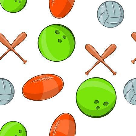 baseball stuff: Sports stuff pattern. Cartoon illustration of sports stuff vector pattern for web Illustration