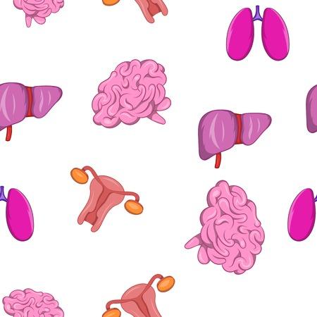 hepatic portal vein: Internal organs pattern. Cartoon illustration of internal organs vector pattern for web Illustration