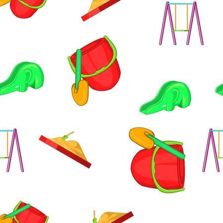 Swings for kid pattern. Cartoon illustration of swings for kid vector pattern for web
