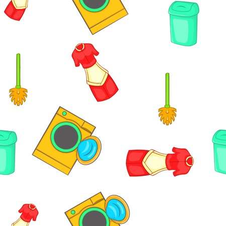 House cleaning pattern. Cartoon illustration of house cleaning vector pattern for web Illustration