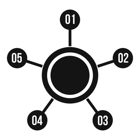 numbers icon: Circle chart with numbers icon. Simple illustration of circle chart with numbers vector icon for web design Illustration