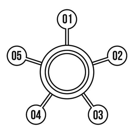 numbers icon: Circle chart with numbers icon. Outline illustration of circle chart with numbers vector icon for web design Illustration