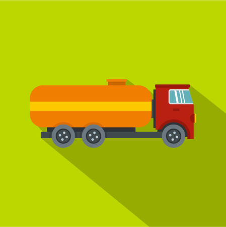 Tanker truck icon. Flat illustration of tanker truck vector icon for web isolated on lime background Illustration