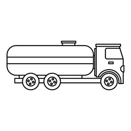 haulage: Fuel tanker truck icon. Outline illustration of fuel tanker truck vector icon for webicon. Outline illustration of vector icon for web