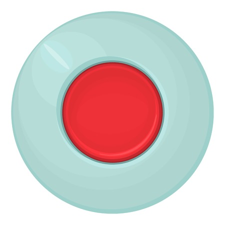 trigger: Red round button icon. Cartoon illustration of red round button vector icon for web